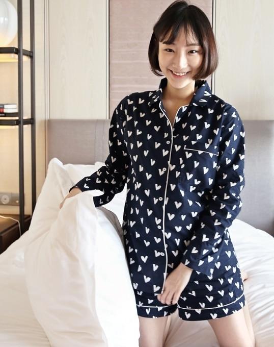 New Pajama Sets Women Loving Heart Print 3 Pieces Set Long Sleeve Top + Shorts Elastic Waist + Blinder Loose Sleep Wear S75603