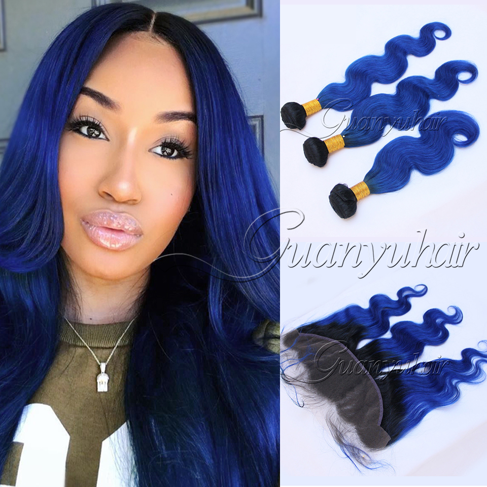 Guanyuhair Dark Roots 1B/Blue Ombre 3 Bundles With Lace Frontal Closure 13X4 Peruvian Body Wave Human Hair Weave With Baby Hair