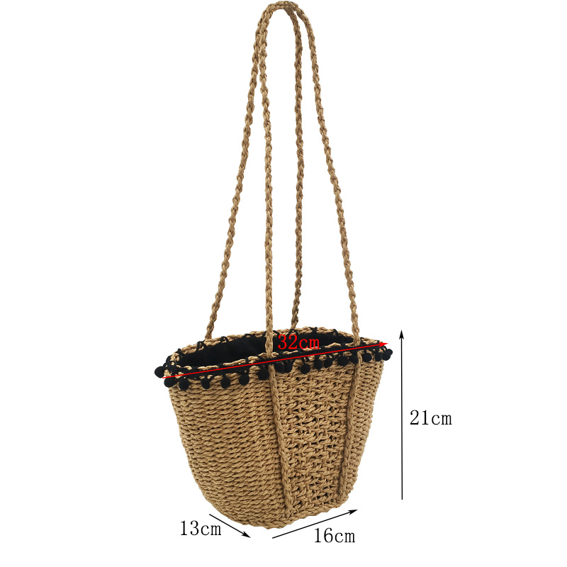 REREKAXI New Bohemian Beach Bag for Women Cute Handmade Straw Bags Summer Grass Handbags Drawstring Basket Bag Travel Tote 1