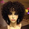 Короткие Вьющиеся Glueless Фронта Шнурка Человеческих Волос Парики Afro Kinky вьющиеся Виргинский Бразильский Полный Шнурок Парики 150 Плотность Для Чернокожих женщины