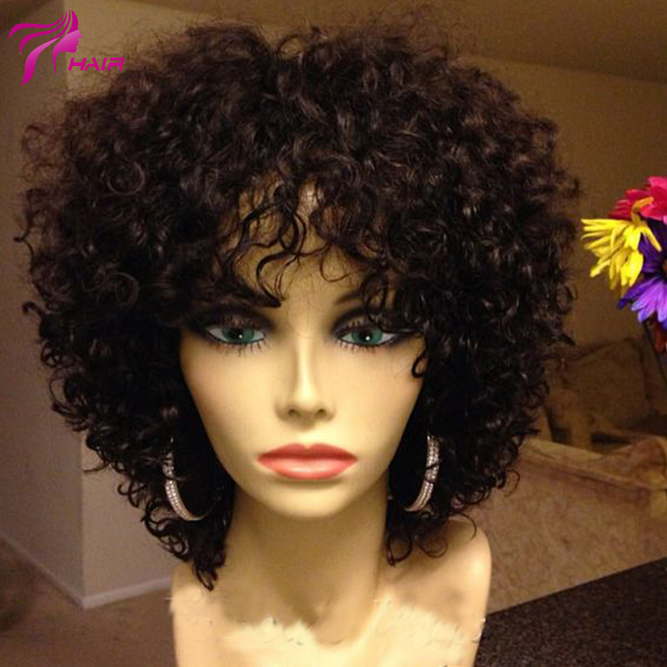 Short Curly Glueless Lace Front Human Hair Wigs Afro Kinky
