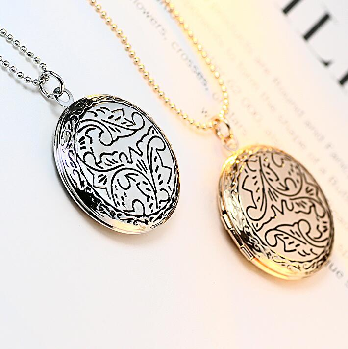 Black Enamel Plant Engraved Can Put Photo Frame Memory Round Locket Necklace For Women Girls Birthday Party Gift
