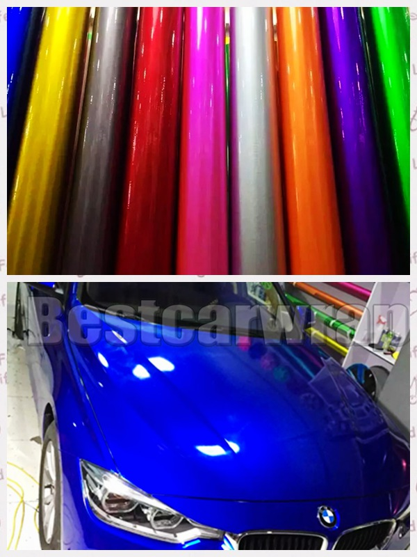 Midnight Metallic Gloss Vinyl Car Wrap With Air Bubble Free Purple / Grey Red & Blue Car stickers covering foil 1.52*20M/Roll