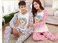 Marca Authumn Amante Pijama Set Casal Dos Desenhos Animados Animal Print O-pescoço Sleepwear Sono das Mulheres Pijamas de Manga Longa Mulheres Pijama Set