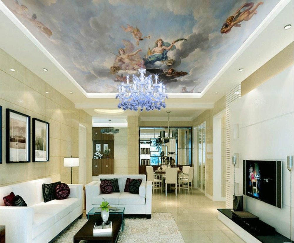 European style classical character oil painting Cupid ceiling murals mural 3d wallpaper 3d ceiling murals wallpaper  free shipping european 3d relief murals aisle porch corridor classical style wallpaper rich tree rose vase mural