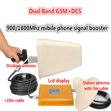 LCD Display 4G DCS 1800MHz + 2G GSM 900Mhz Dual Band Mobile Phone Signal Booster GSM 900 DCS 1800 Signal Repeater Amplifier