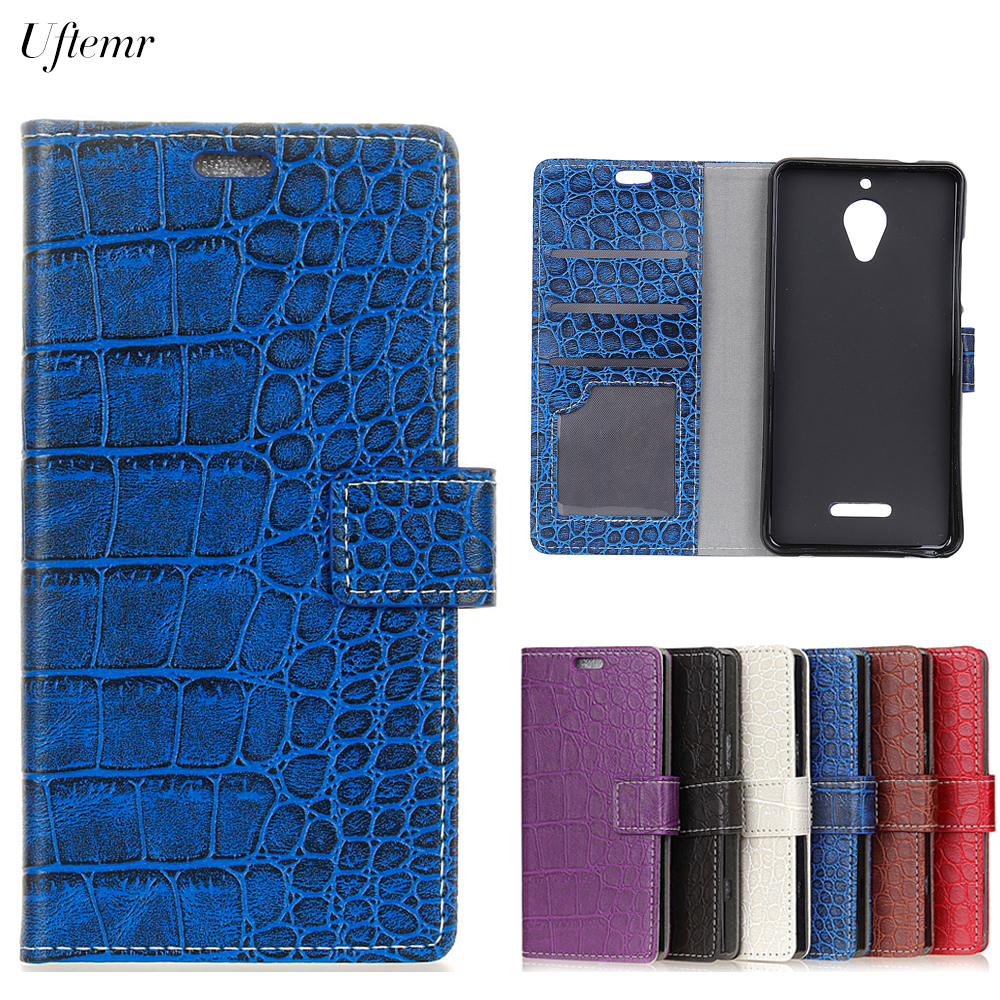 Uftemr Vintage Crocodile PU Leather Cover For Wiko Tommy 2 Plus Protective Silicone Case Wallet Card Slot Phone Acessories