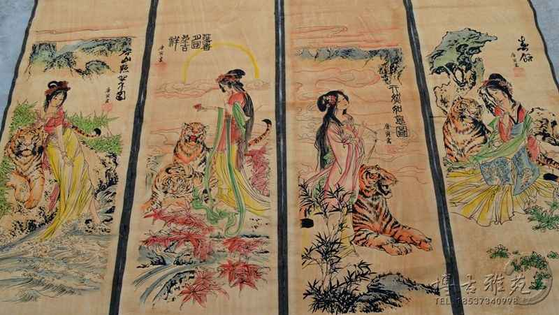 China calligraphy Paintings Scrolls Chinese Painting VINTAGE TRADITIONAL  CHINESE PAINTING LONG SCROLL FOUR SCREEN