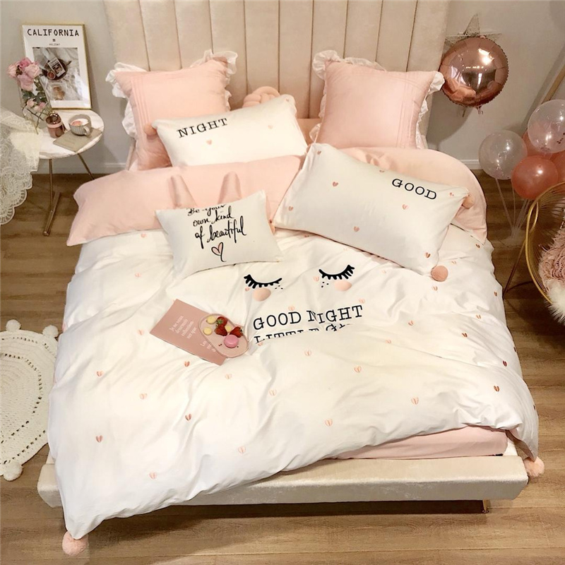 Luxury Egypt Cotton Curved Eyelashes Bedding Set Embroidery cute balls Duvet Cover Bed Sheet Pillowcases Queen King Size 4/6/7PcLuxury Egypt Cotton Curved Eyelashes Bedding Set Embroidery cute balls Duvet Cover Bed Sheet Pillowcases Queen King Size 4/6/7Pc