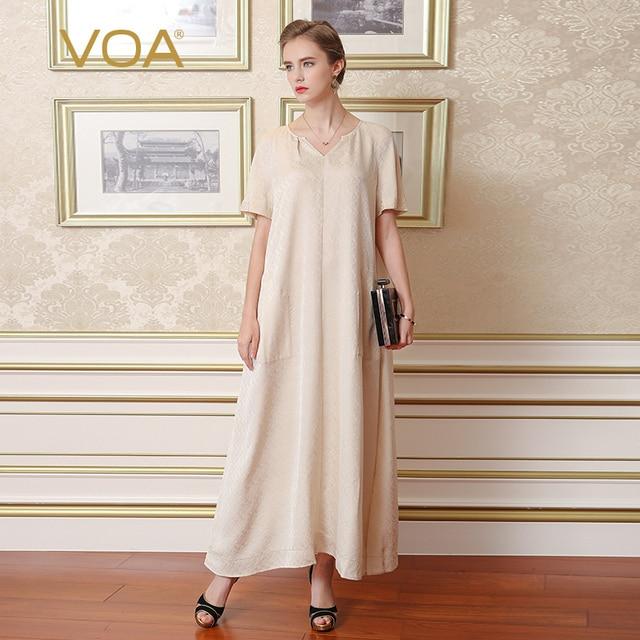 55d9d615b46fa VOA 2017 Summer V-neck Brief Solid Beige Silk Long Shirt Dress Plus Size  Short Sleeve Loose Comfort Women Maxi Dress A7119