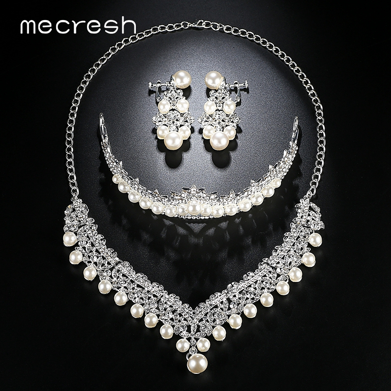 Mecresh Luxury Simulated Pearl Bridal Jewelry Sets Silver Color