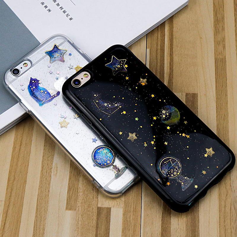 For iphone 6 Case Luxury Moon Cat Bling Stars Glitter Phone Cases For iphone 7 6 6S 8 Plus X Case Soft Silicone TPU Back Cover