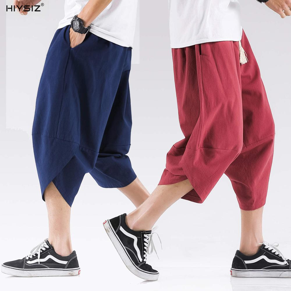 HIYSIZ NEW Pants 2019 Summer Chinese style linen cropped trousers, mens baggy large size trousers and retro ST418