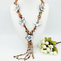 Doğal Taş Kırmızı Carnelian & sedef shell çiçekler 25 inches Püsküller Kolye kadınlar için güzel hediye