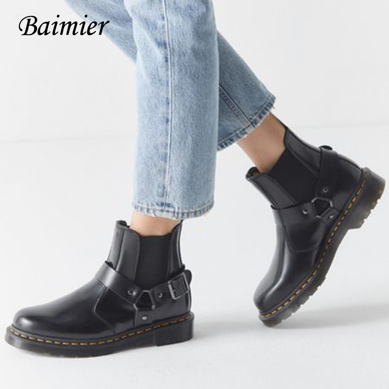 Shoes Winter Platform-Boots Motocycle-Boots Chelsea Plus-Size Genuine-Leather Women Ankle