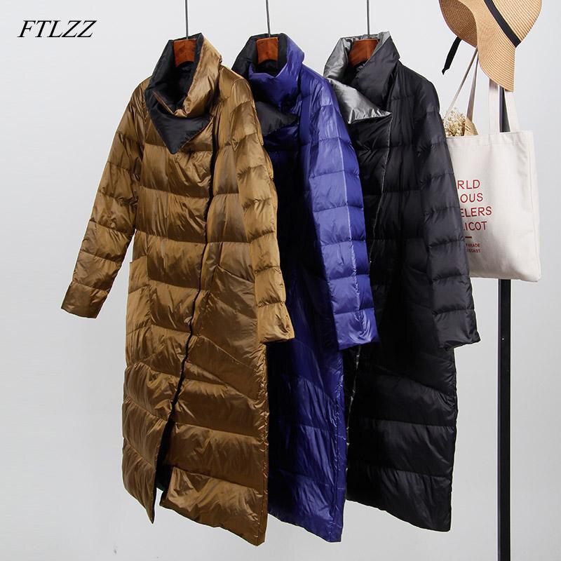 FTLZZ White Duck   Down   Ultra Light Jacket Women Winter Long   Coat   Double Sided Slim   Down     Coat   Single Breasted Parkas