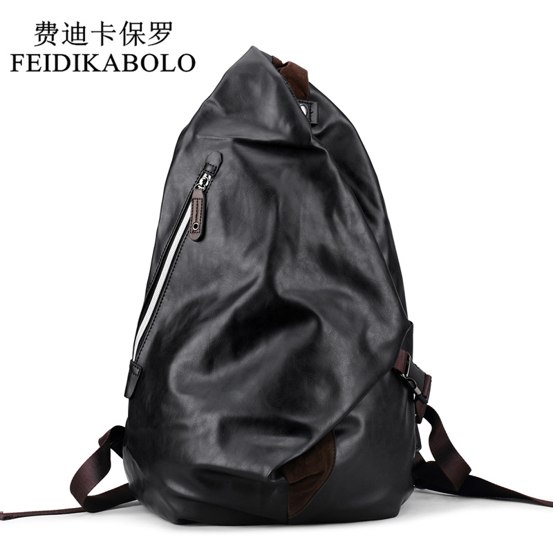 FEIDIKABOLO Fashion Brand Mens Backpack Black PU Leather Backpacks Male Travel bag School Bags men Laptop Backpack mochila bags