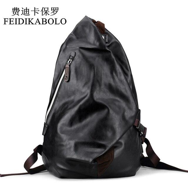 f5a38b719f FEIDIKABOLO Fashion Brand Men s Backpack Black PU Leather Backpacks Male  Travel bag School Bags men Laptop Backpack mochila bags