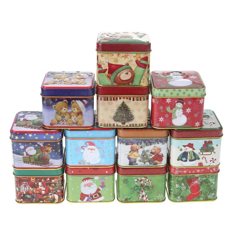 12Pcs Mini Square Christmas Candy Gift Tin Box New Year Kids Gift Packing Boxes Christmas Santa Claus Snowman Printed Sealed Jar