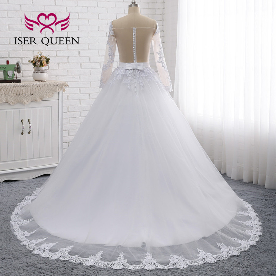 Image 4 - Illusion Back Sexy Wedding Dress A line Long Sleeves European Wedding Gowns 2019 Lace Embroidery Wedding Dresses W0274-in Wedding Dresses from Weddings & Events