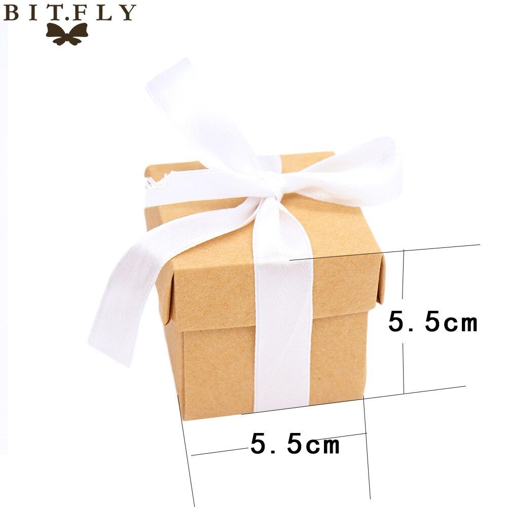 50pcs small Wedding Candy Box Kraft paper Gift Box Wedding Favors ...