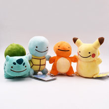 4Pcs/Set 12-15cm Charmander Squirtle Bulbasaur Pikachu Peluche Ditto Metamon Anime Plush Toy Stuffed Animals Doll Free Shipping(China)