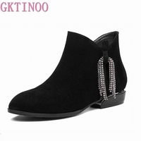 GKTINOO 2019 Boots Women Genuine Leather Ankle Boots Pointed Toe Natural Suede Low Heels Boots Fashion Spring Ladies Shoe