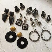 Bestessy 32 Za Earrings For Women Black Beads Flower Crystal Resins Dangle Drop Wedding Fashion Statement Jewelry