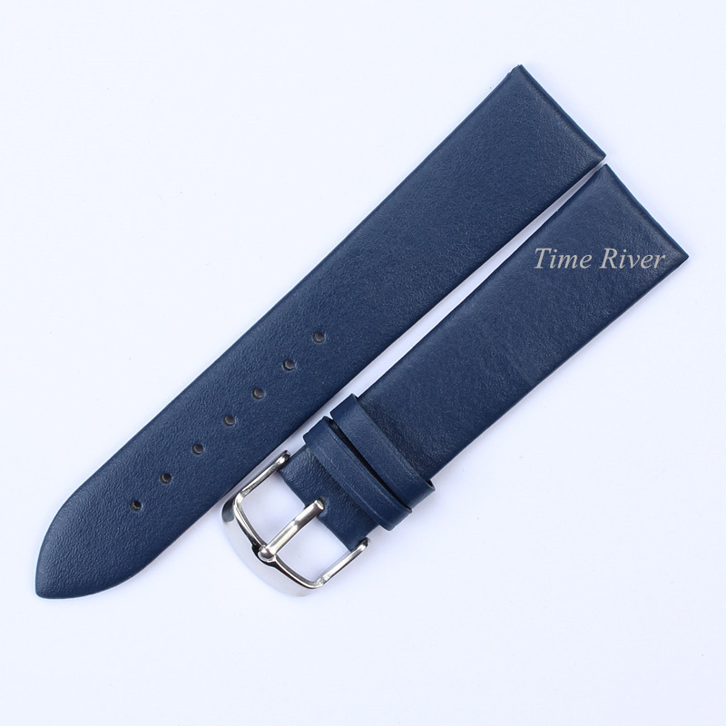 1PCS Genuine Leather Watch Band Strap -Blue-12mm 14mm 16mm 18mm 20mmm 22mm Watch Strap Watch Belts Wristwatch Band