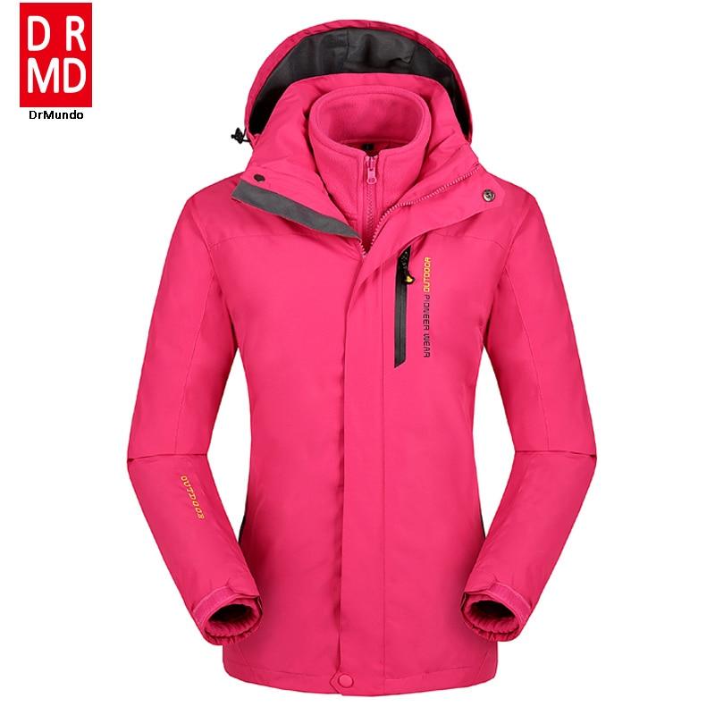 Prix pour Plus la taille veste de snowboard femmes étanche vestes de neige femelle thermique ski veste polaire randonnée en montagne ski veste big yards