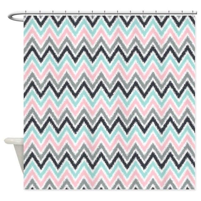 Pink Mint Gray Ikat Zigzag Decorative Fabric Shower Curtain Set Non Slip Bath Mat