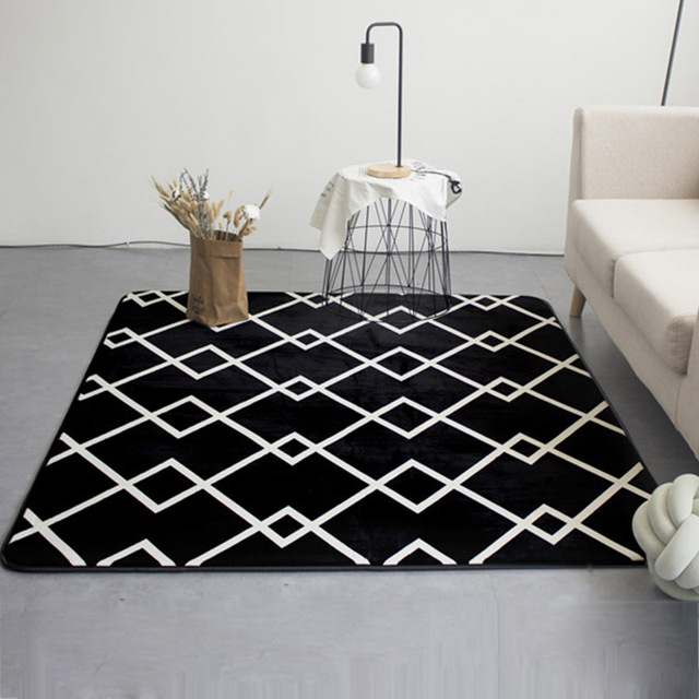 US $14.55 9% OFF|Fashion Modern Geometric Lines Black Living Room Bedroom  Decorative Carpet Area Rug Bathroom Floor Door Yoga Baby Crawl Play Mat-in  ...