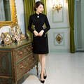 Autumn Winter Elegant Chinese Women Wool Cheongsam Hot Sale Traditional Style Long Sleeve Qipao Dress Vestido Clothing M L XL