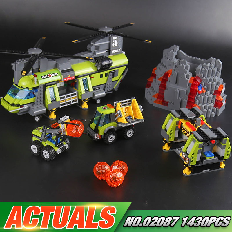 Lepin 02087 New 1430Pcs City Series The Volcano Heavy-Lift Helicopter Set 60125 Building Blocks Bricks Christmas New Year Gifts hot city volcano heavy lift helicopter building block transporter truck forklift expedition figures bricks 60125 toys for gifts