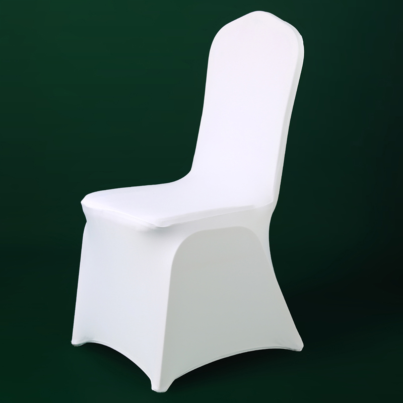 50Pcs 100Pcs White Stretch Lycra Chair Cover Christmas Party Cheap Spandex Chair Covers Wedding Banquet Dining Office From China image