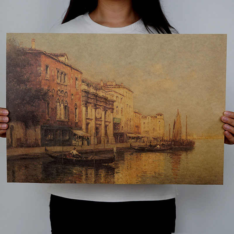 mling 1PC Resorts Vintage Water Town Venice Seascape Oil Painting On Canvas Poster Modern Wall Art Pictures For Living Room