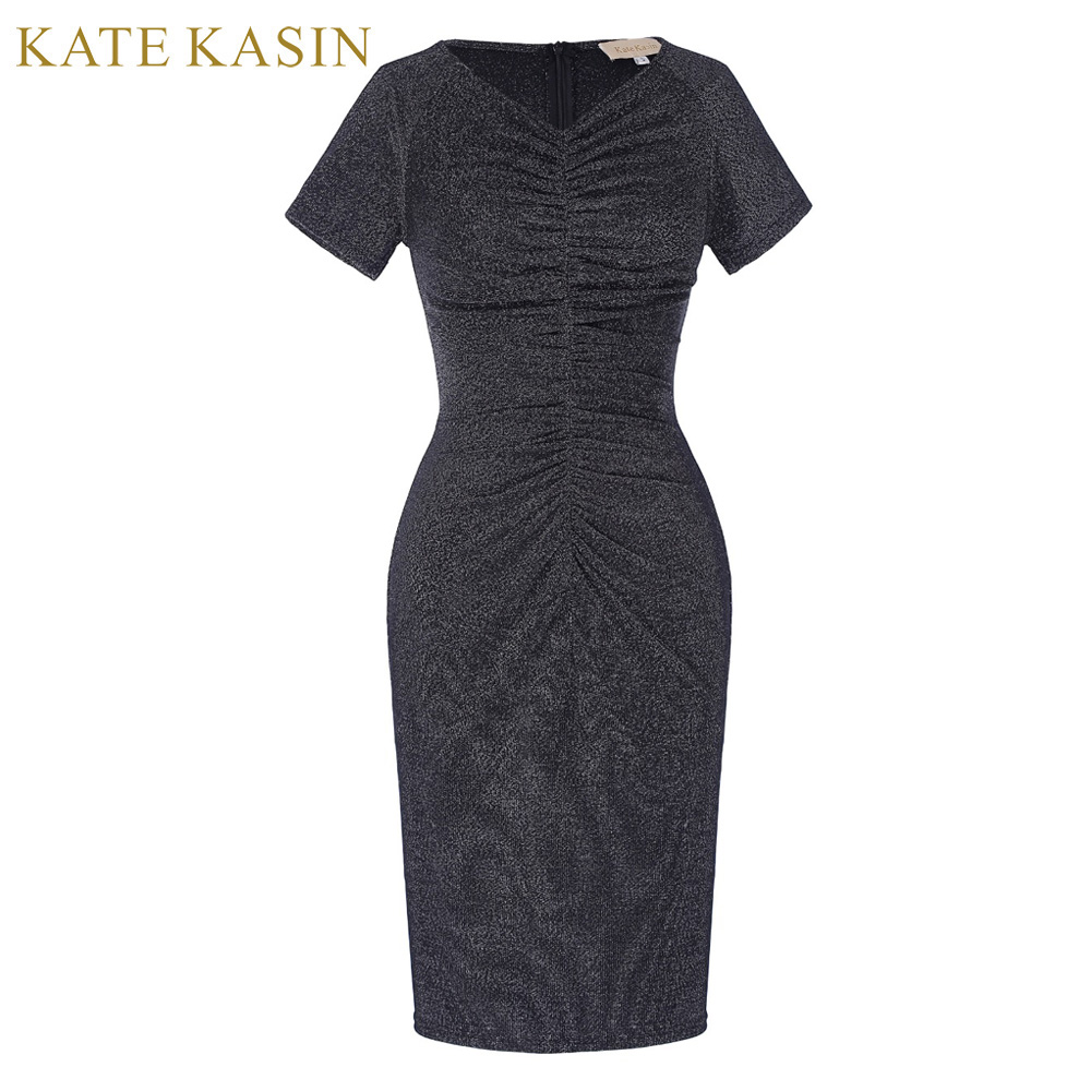 Kate Kasin Summer Backless Knitted Bodycon Dress Women Back Cross Short Dress Women Pleated Gray Sexy Dress 2017 Pencil Dress женское платье summer dress 2015cute o women dress