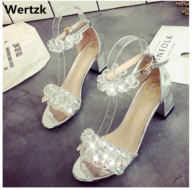 New 2019 summer womens water diamond pendant sandals with chunky fishbill Roman heels and open-toe crystal wedding shoes E410New 2019 summer womens water diamond pendant sandals with chunky fishbill Roman heels and open-toe crystal wedding shoes E410