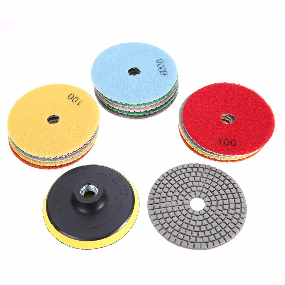 New 16pcs 4inch/100mm Diamond Wet/Dry Polishing Pads +Backer For Stone Concrete Marble toolocity cpp06p1 6 inch dry 5 step diamond polishing pads for concrete pos 1