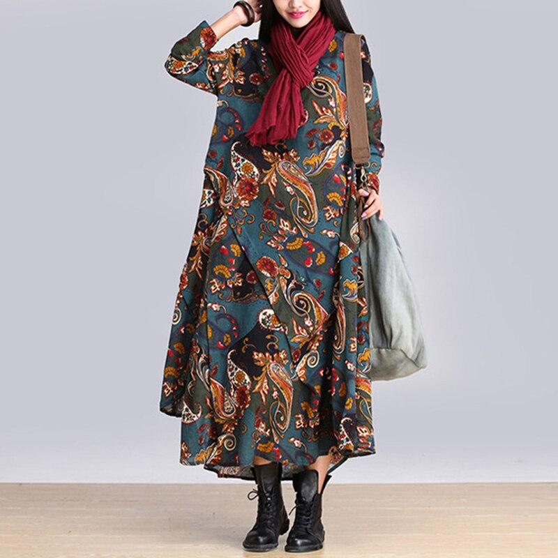 Женское длинное платье с цветочным принтом QH1318, Длинное свободное платье из смесового хлопка и льна, весна лето 2018