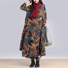 Fashion big swing dress women 2018 spring summer long cotton linen blend  dress female print flowers 44a844c5a5df