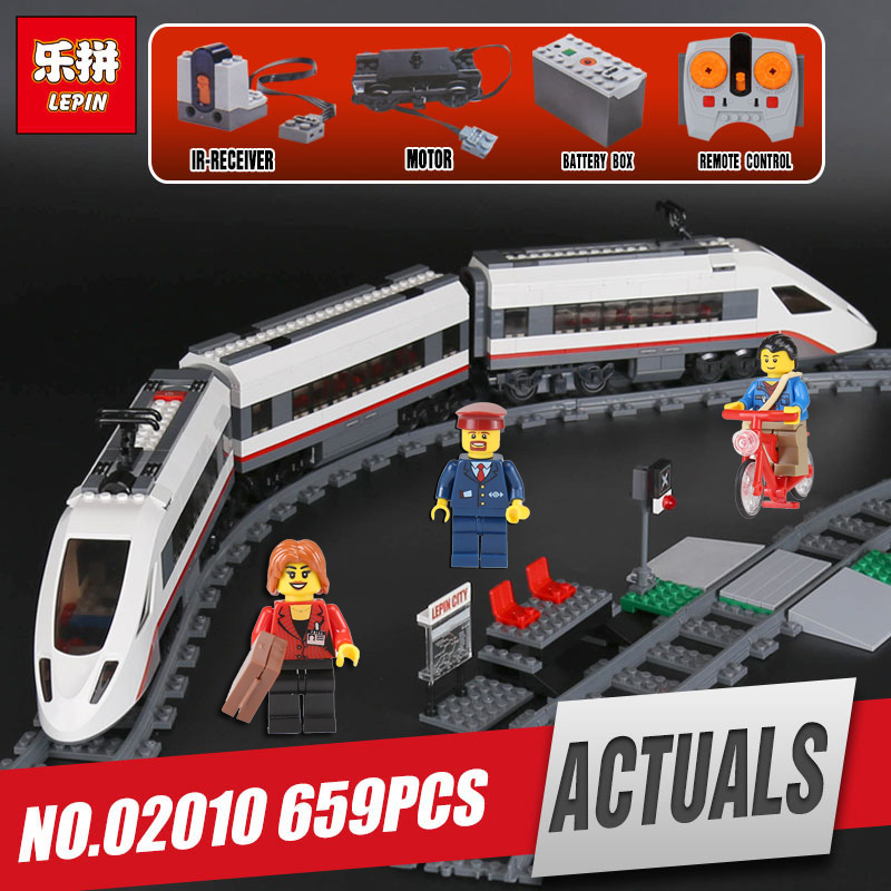 IN STOCK Lepin 02010 The High-speed Passenger Train Building Remote-control Trucks Set Blocks Bricks Toy legoing 60051 as gift 610pcs lepin 02010 rc high speed passenger train city creator trains citi building bricks blocks toys compatible 60051 diy