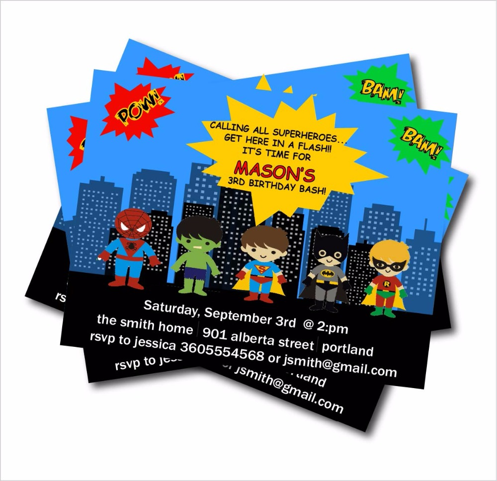 20 Pcs Lot Personalized Superhero Birthday Party Invitation Baby Shower Invites Decoration Supply Free Shipping