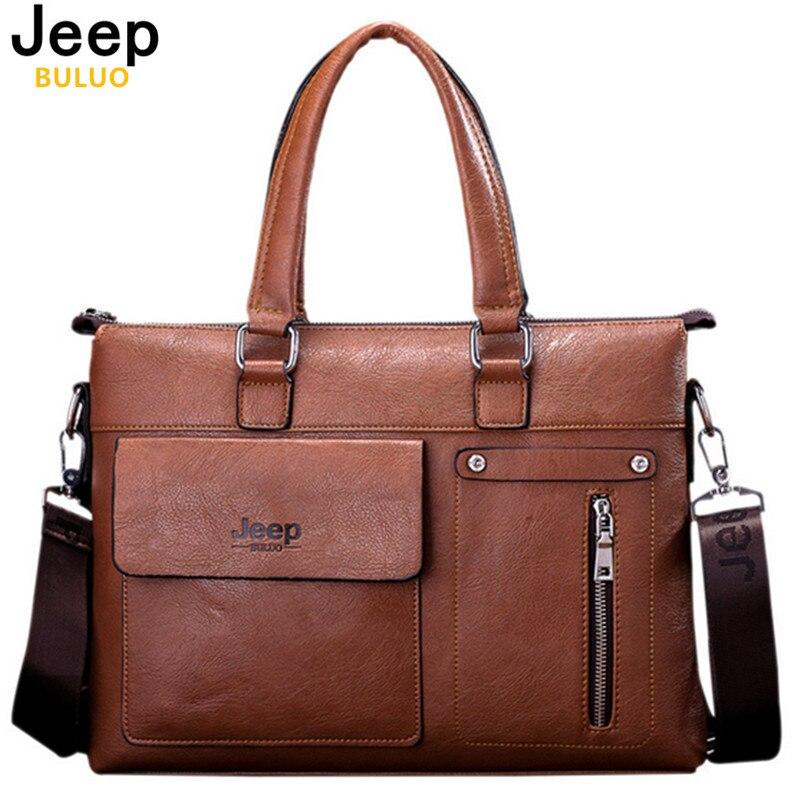 Famous Designer JEEP BULUO Brands Men Business Briefcase PU Leather Shoulder Bags For 14 Inch Laptop