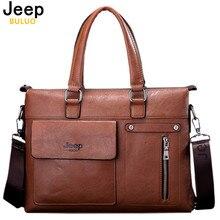 Berühmte Designer JEEP BULUO Marken Männer Business Aktentasche Pu-leder Umhängetaschen Für 14 Zoll Laptop-tasche große Reisetasche Handtasche 6013