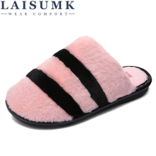 цены LAISUMK Unisex Indoor House Slipper Soft Plush Cotton Cute Slippers Shoes Non-Slip Floor Home Furry Slippers Women Shoes Bedroom