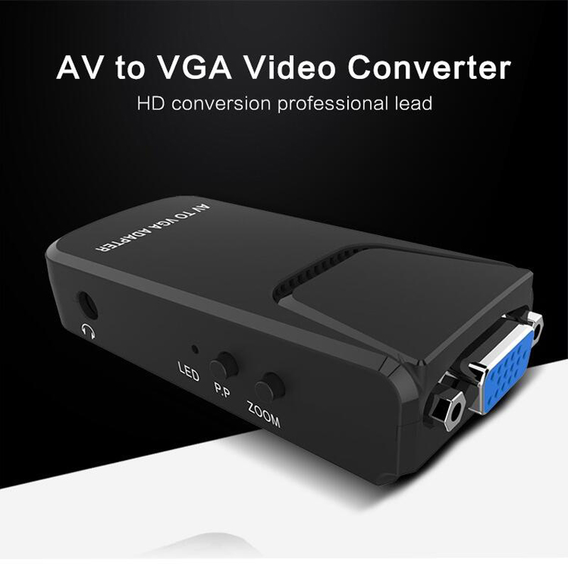 RCA composite AV to VGA video converter Adapter for DVD/VCD/Webcam/set-top box to VGA TV / Projector/ Monitor pc laptop composite video tv rca composite s video av in to pc vga lcd out converter adapter switch box