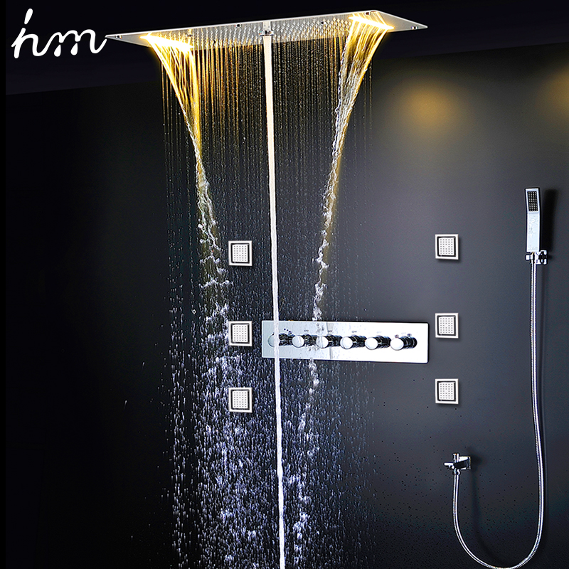 hm Concealed Shower Thermostatic Faucets SUS304 With Embedded Ceiling LED Shower Head 380x700mm Rainfall Mist Spout