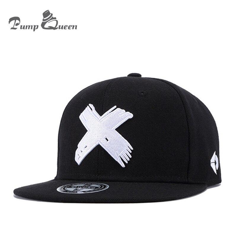 Bomba reina moda Unisex clásico 5 paneles algodón Snapback Cap 3D X bordado Mens gorra de béisbol ala plana Hip Hop sombreros Cap