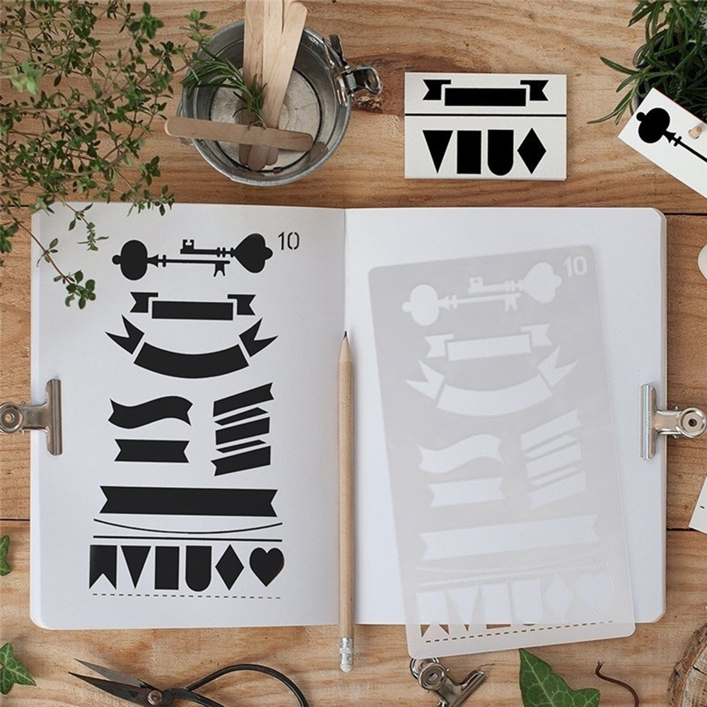 12pcs/set Creative Bullet Journal Stencil Plastic Planner Stencils Journal/notebook/diary/scrapbook Diy Drawing Template Rule #1